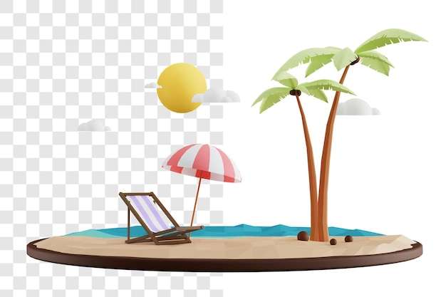Sommer 3d rendering-konzept entspannend auf dem strand