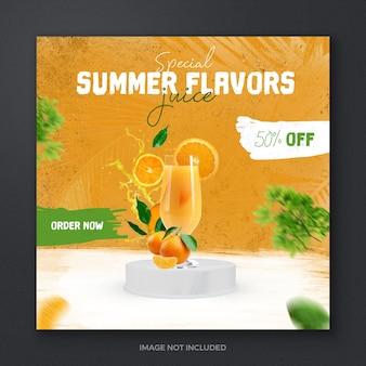 Sommer frisches getränk saft obst social media post banner template design