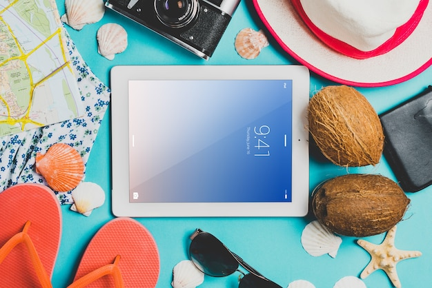 Sommer komposition mit tablet