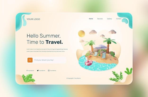 Sommer-landing-page-vorlage mit 3d-rendering-illustration