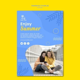 Sommer mit freundplakatschablone