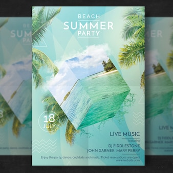Sommer party flyer vorlage