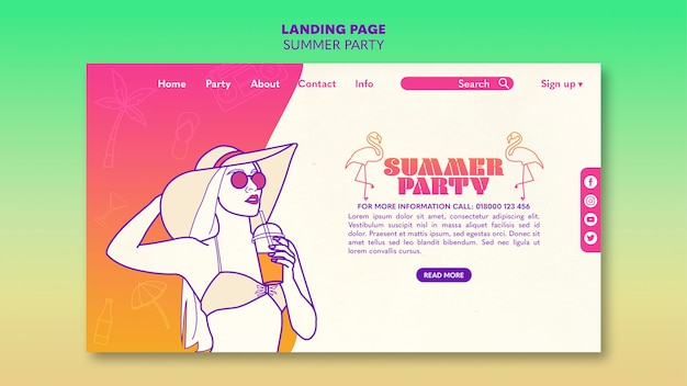 Sommer party landing page template-konzept