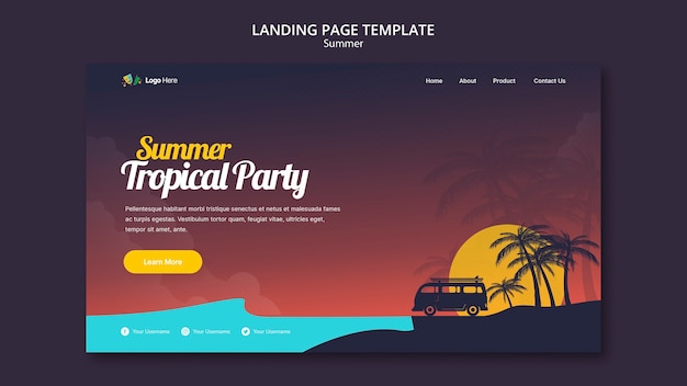 Sommer party landingpage vorlage