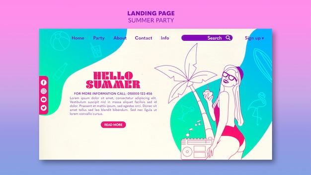 Sommer party landingpage vorlage