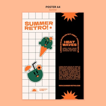 Sommer retro poster vorlage