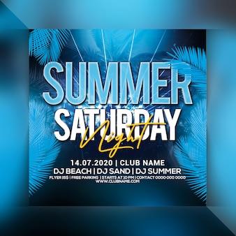 Sommer samstag nacht party flyer