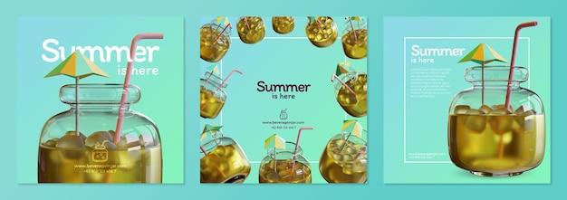 Sommer-social-media-post-vorlage mit getränken im glas 3d-rendering