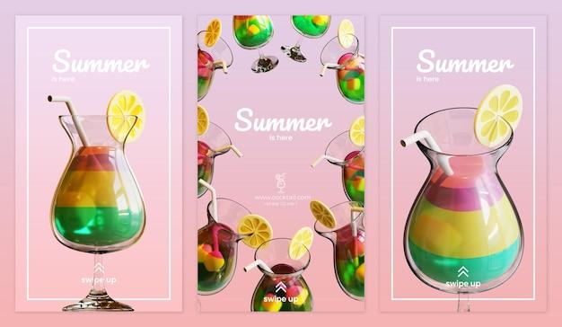 Sommer-social-media-story-vorlage mit cocktail-3d-rendering