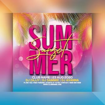 Sommer sonnenuntergang party flyer