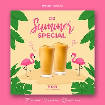 Sommer spezielle instagram post vorlage