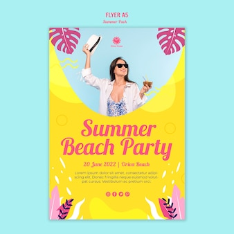 Sommer strandparty flyer vorlage