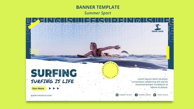 Sommer surfing banner vorlage konzept