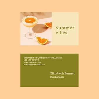 Sommer-visitenkartenvorlage psd mit tropischem hintergrund