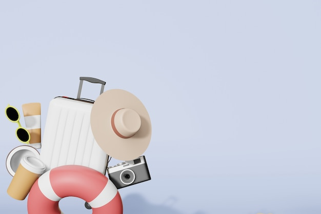 Sommer zeug modell in 3d illustration rendering