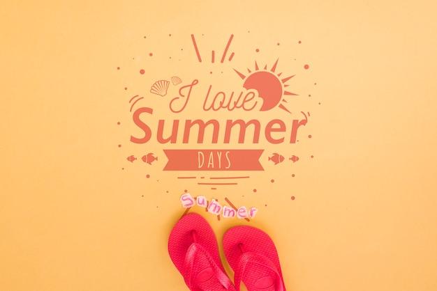 Sommerbeschriftungshintergrund mit flipflops