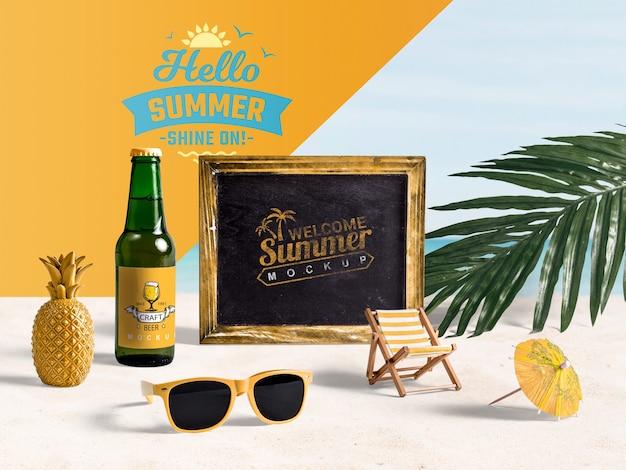 Sommerelemente, um die ferien am strand zu genießen