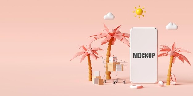 Sommerferienkonzept mit smartphone-modell