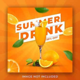 Sommergetränkekarte promotion instagram post banner vorlage