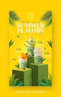 Sommergetränkemenüförderung social media instagram story banner vorlage in