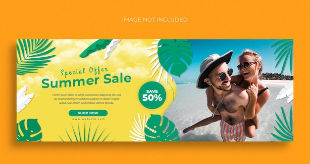 Sommermode verkauf social media web-banner-flyer und facebook-cover-design-vorlage