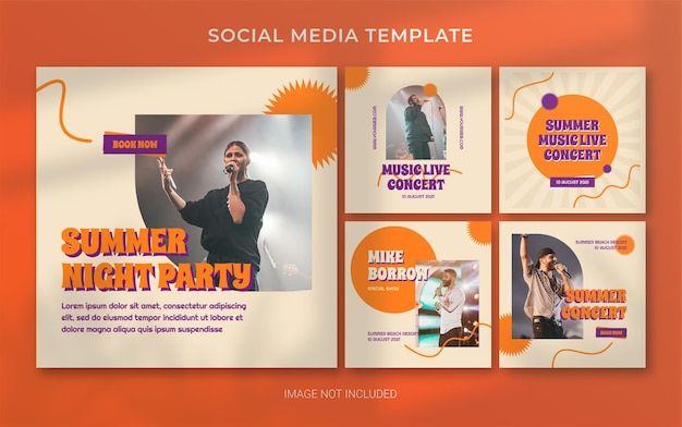 Sommermusikkonzert retro social media post banner layout