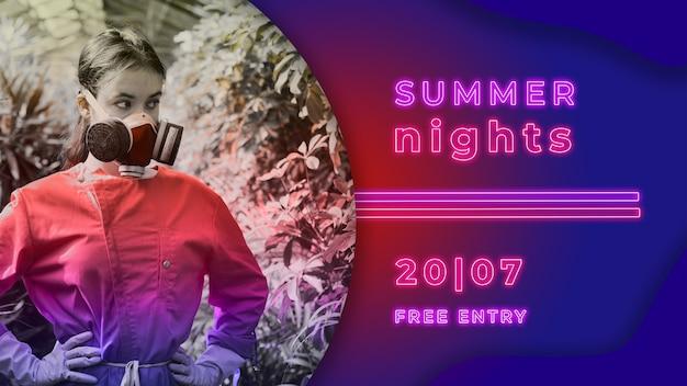 Sommernachtsparty banner im neonlicht stil