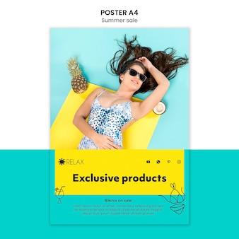 Sommerplakat mit exklusiven produkten