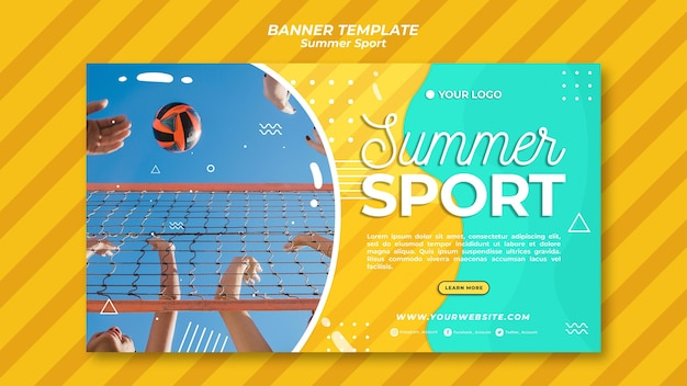 Sommersport banner vorlage konzept