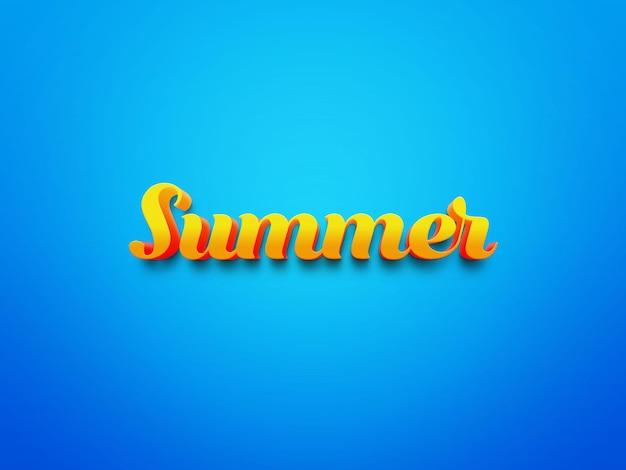Sommertexteffekte auf blauem hintergrund