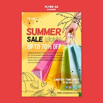 Sommerverkauf mit einkaufstaschenplakat