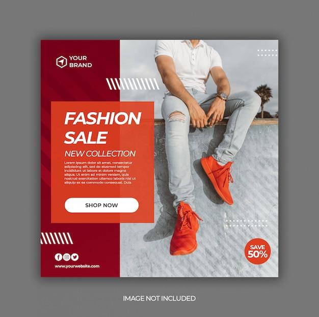Sommerverkaufsaktion für social media instagram post banner vorlage