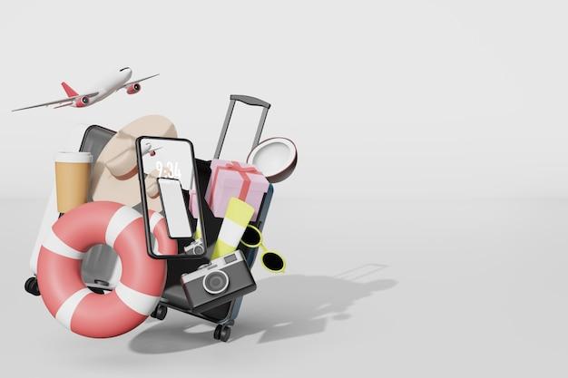 Sommerzeug mit handy-modell in der 3d-illustrationswiedergabe