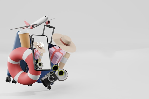 Sommerzeug mit handy-modell in der 3d-illustrationswiedergabe