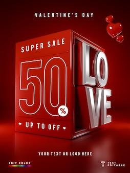 Sonderangebot 3d love valentinstag mockup