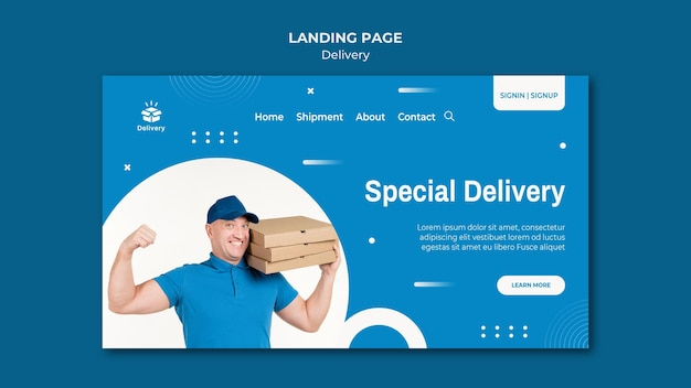 Sonderzustellungs-landingpage-vorlage