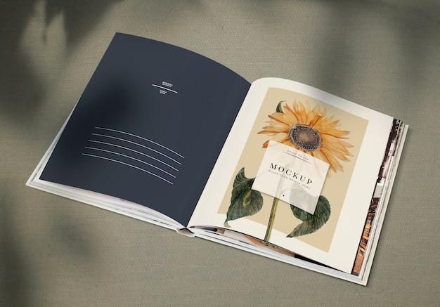 Sonnenblume auf einem zeitschriftenmodell