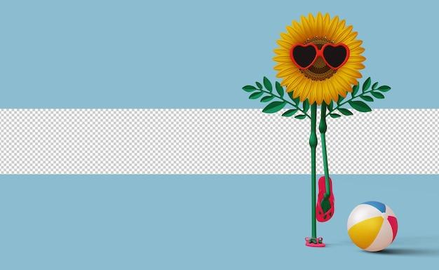 Sonnenblume mit pantoffeln und strandball sommer sale
