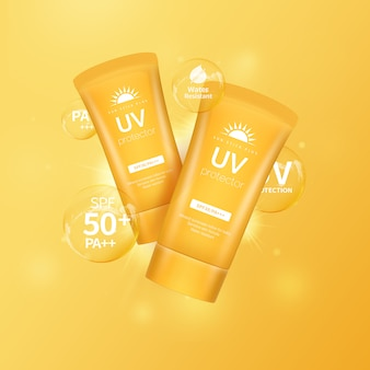Sonnencreme für sommerlichen sonnenschutz, kosmetische gegenstände