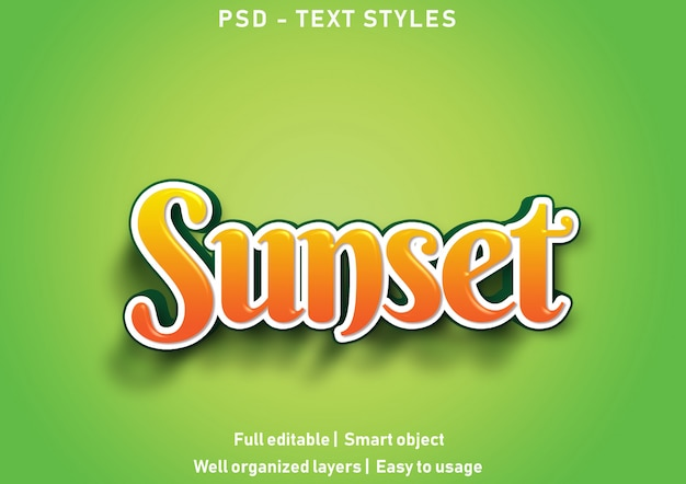 Sonnenuntergang texteffekte stil bearbeitbare psd