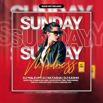 Sonntagswahnsinns-club-party-flyer-vorlage