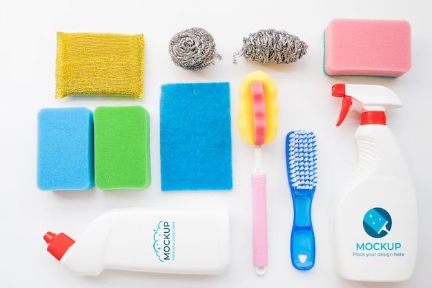 Sortiment der reinigungsprodukte flach legen