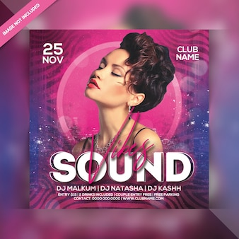 Sound vibes party square flyer