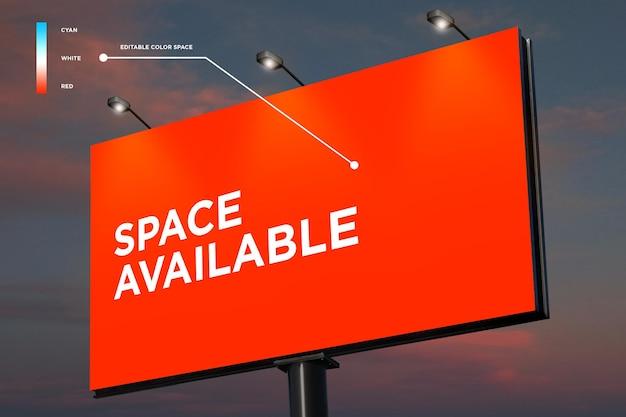 Space billboard mockup display im freien editierbare farbe