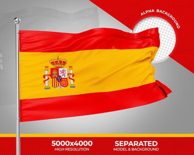 Spanien realistische 3d-texturierte flagge für die komposition