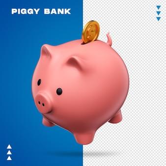 Sparschwein mit münze im 3d-rendering isoliert