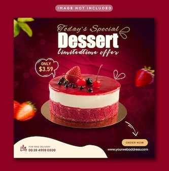 Special tasty sweet dessert social-media-instagram-promotionapost- und web-banner-vorlage