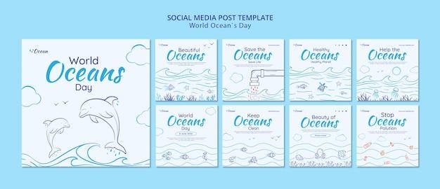 Speichern sie den social-media-beitrag der unterwasserwelt