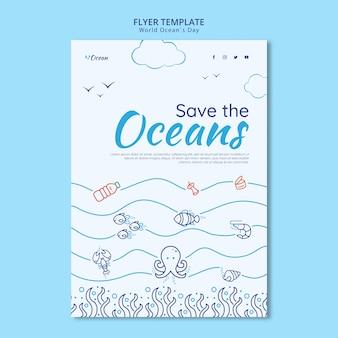 Speichern sie die flyer-vorlage für ozeane