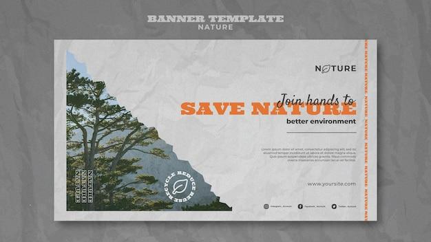 Speichern sie die horizontale bannervorlage der natur